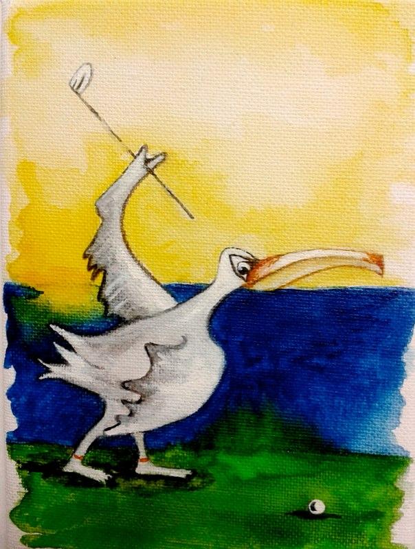 Pelikan fängt Golfen an